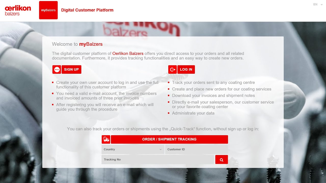 myBalzers tutorial - order creation
