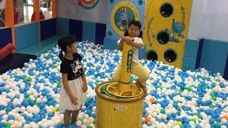 Fun Indoor Playground for Kids of Elle and Lsa with Family