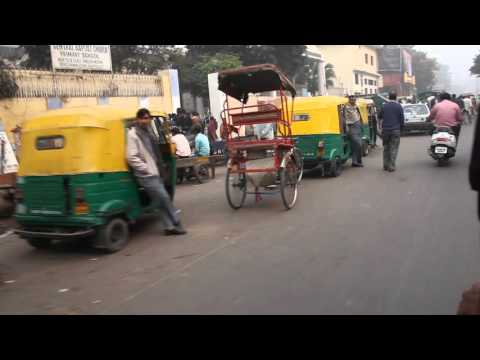 India Video - Rickshaw Ride Through Streets Of Delhi near Chandni Chowk - 2011 -[Full HD]