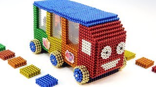 DIY How To Make Rainbow Bus From Magnetic Balls | Wheel On The Bus Song| Surprise Balls
