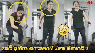 Actress Pragathi workouts at Gym..