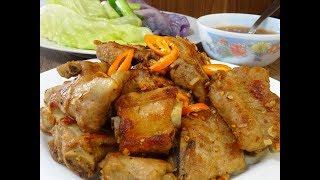 Sườn non chiên ăn với nước Mắm Chanh Tỏi Ớt - Mẹo tách lá Bắp Cải không rách by Vanh Khuyen