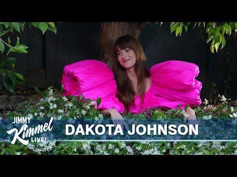 Neighbors Jimmy Kimmel & Dakota Johnson Chat Over the Fence