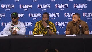 Harden, Chris Paul & Gordon Postgame Interview - Game 3 | Warriors vs Rockets | 2019 NBA Playoffs