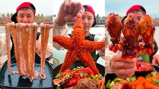 eat spicy octopus🦑🦀🦐🦞🐟 🤤 Fisherman eating delicious seafood boil! P15