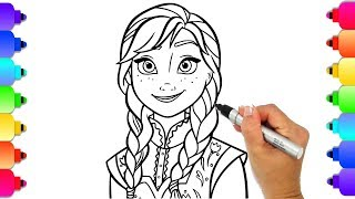 Disney Frozen 2 Learn To Draw Princess Anna | Frozen 2  Coloring Pages |