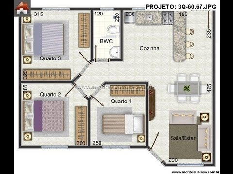 Plantas de casas de 3 quartos musica for Casa moderna de 7 00m x 15 00m