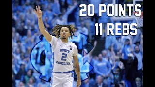 Cole Anthony Full Highlights 11.8.19  UNC vs UNCW - 20 Points, 11 Rebounds