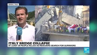 ITALY BRIDGE COLLAPSE: Gruesone search for survivors underway