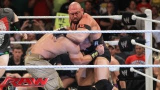 Raw - 6:23 John Cena and Ryback brawl before their WWE Payback match: Raw, June 10, 2013