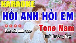 Karaoke Hỏi Anh Hỏi Em Tone Nam Nhạc Sống | Trọng Hiếu