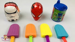 4 Colors Play Doh Ice Cream | PJ Masks Star Wars  Marvel Spider man Collection