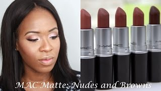 MAC Matte Nude and Brown Lipstick Swatches   WOC Friendly