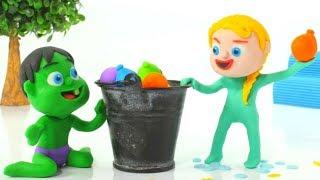 SUPERHERO BABIES PLAY WITH WATER BALLOONS ❤ Spiderman, Hulk & Frozen Elsa Play Doh Cartoons For Kids