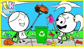EARTH DAY ! Volunteer Recycling at the Playground Park with EK Doodles Fun Adventure!