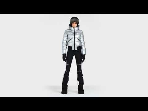 Goldbergh Aura Womens Ski Jacket in Silver - Saga Fur Trim
