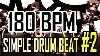 180 BPM - Simple Beat #2 - 4/4 Straight Rock Drum Track - Metronome - Drum beat