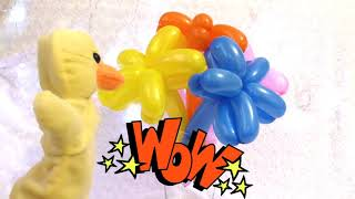 Learn colors with balloons flowers and Duck songs finger family nursery rhymes for kids colours
