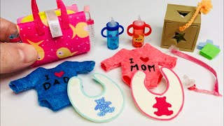 DIY MINIATURE BABY DOLL HACKS & CRAFTS / Baby Clothes, Sippy Cup, Bib and MORE