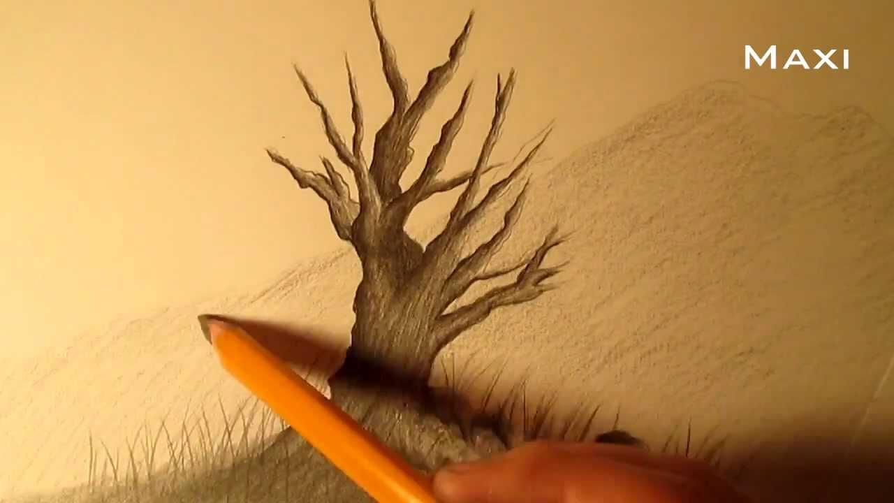 C mo dibujar un rbol a l piz paso a paso c mo dibujar un for Que significa dibujar arboles secos