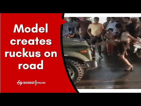 Drunken model creates commotion on road in Gwalior, stops army vehicle and kicks jawan