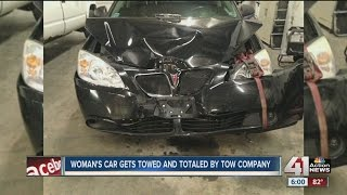 Tow company tows and totals car