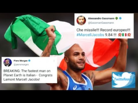 TWITTER REACTS to ITALY MARCELL JACOBS Winning GOLD in Men's 100 Meters @TOKYO2020