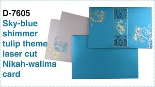 Sky-blue shimmer tulip theme laser cut Nikah-walima card. D-7605- New design!