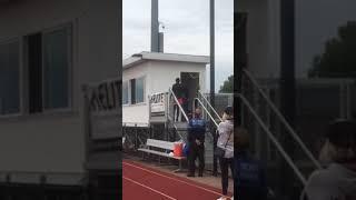 Milan singing the National Anthem at Belmont University Women's soccer game
