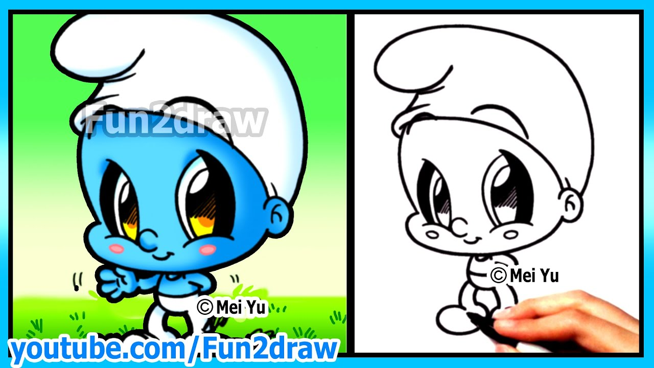 How to Draw Cartoons - Smurf + Funny Extra Drawing - Cute ...