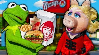 Miss Piggy and Kermit the Frog's Drive Thru Dinner Date! (Wendy's)