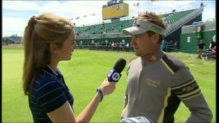 Ian Poulter tells Cara Robinson what's in his bag at the 2012 Open