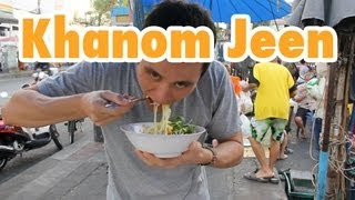 Thai Khanom Jeen Rice Noodles and Curry on the streets of Bangkok