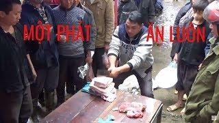 chặt thịt lợn tại phiên chợ | Bắc Hà Lào Cai | Mới nhất Dao cực sắc