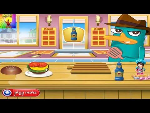 Perry Утконос готовит гамбургер Мультик игра для детей