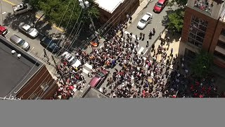 Drone Video Shows Moment Car Plows into Protests