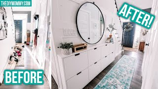 SMALL ENTRYWAY MAKEOVER with IKEA hack for TONS of hallway storage!
