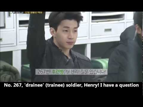 [real man] 20140216 Eng - Henry joining the army Part 1 FUNNY! 진짜사나이 헨리 질문 너무 웃겨~!