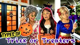 Types of Trick or Treaters - Halloween Candy Funny Skits // GEM Sisters