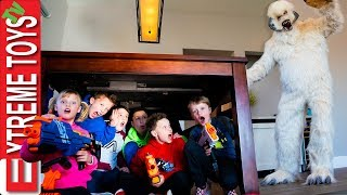Ninja Kids Help Ethan and Cole Defeat the Wampa Snow Beast with Nerf Rival!