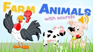 The FARM ANIMALS with sounds - Words in spanish and english