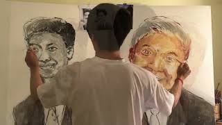 Amazing Portrait Painting King Father Sihanouk and King Sihamoni by Talent Kakada Yi