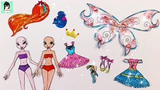 WINX CLUB Paper Dolls ballet - Drawing Gliter dresses for BLOOM & MUSA