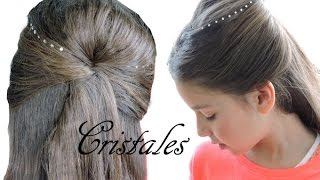 Peinado con cristales para cabello - Hairdo with hair jewelry bling