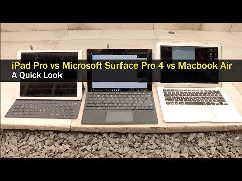 Comparison Apple iPad Pro vs Microsoft Surface Pro 4 vs MacBook Air  Digitin
