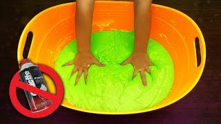 How to make Giant DIY Super Soft Fluffy Slime without Shaving Cream or Foam! Simple Recipe