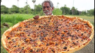 Cheese Pizza Recipe   Giant Paneer Cheese Pizza   Veg Pizza without Oven by Grandpa