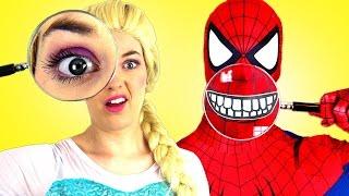 Человек паук и замороженные Эльза Bubble Gum вызов Супермен смешной в реальной жизни Человек паук пр