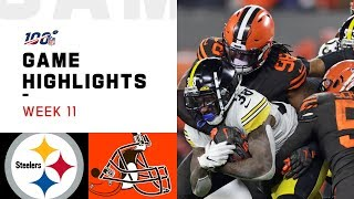 Steelers vs. Browns Week 11 Highlights | NFL 2019