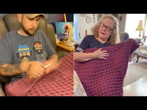 Поранешен војник плете ќебе за  бабата на сопругата што му помогнала да се справи со траумите